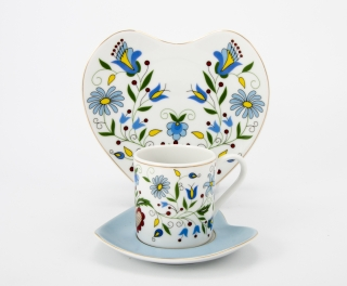 """Zestaw kawowo-śniadaniowy Roma/Serce (3 elementy) """"dekoracja kaszubska żukowska"""""""