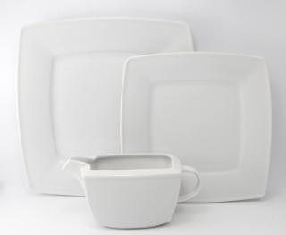 Serwis obiadowy biały Victoria dla 6 osób (22 elementy)