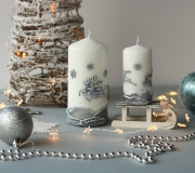 """Świeca świąteczna walec  """"zaprzęg Św. Mikołaja"""", wysokość 15cm"""