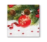 """Świąteczne serwetki papierowe """"czerwona bombka"""" (20 szt/op)"""