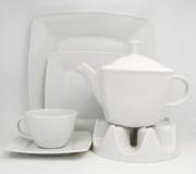 Garnitur do herbaty biały Victoria dla 12 osób (42 elementy)